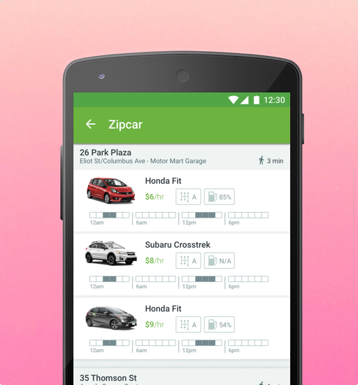 A cell phone with a list of Zipcars on the screen