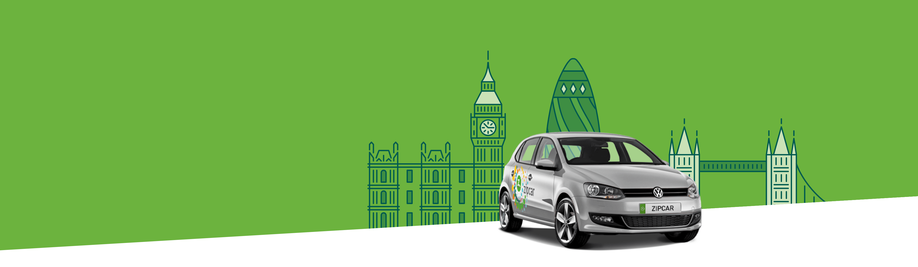 Silver Zipcar profile with illustrated cityscape behind it