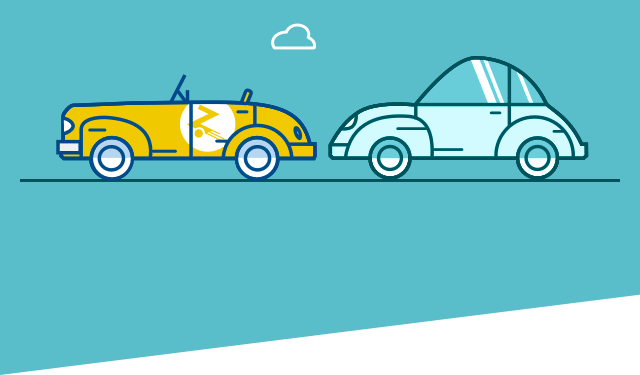 Teal background with cartoon cars driving across